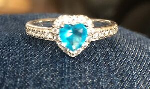 Aquamarine / Sterling Silver Crystal Ring size 5