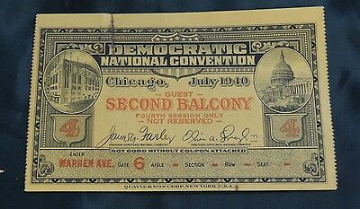 1940 Ticket to the Democratic National Convention