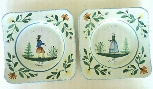 Antique HB QUIMPER Pair Square Plates Man Woman Facing France 1910 Signed