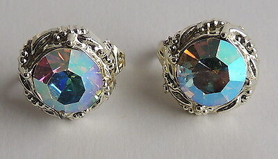 Vintage Silver Rhodium Faceted Glass Neon Rainbow Mirror Clip On Earrings ()