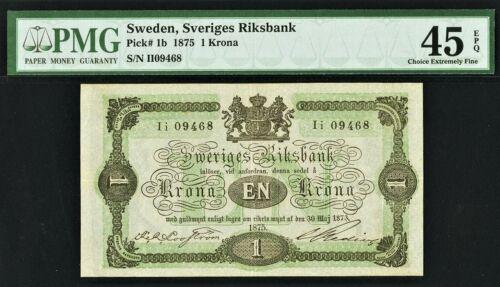 Sweden One Krona 1875 Pick-1b Extremely Fine PMG 45 EPQ