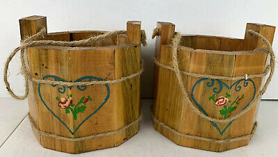 Wooden Buckets Hand Made Water Wishing Well Pail Lot Rope Twine Handle Painted Wishing Well Bucket