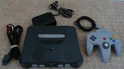 Nintendo 64 N64 Charcoal Grey Console (NTSC) Complete Clean and Tested