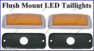 Flat Mount Amber LED Taillights Turn Signal Running Parking Lights 41FA - 2