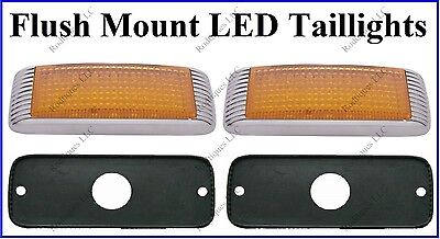 Flat Mount Amber LED Taillights Parking Roll Pan Bumper Custom Chevy Truck 41FA