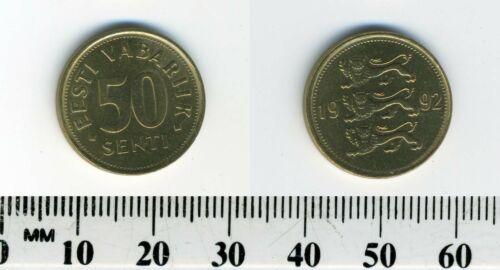 Estonia 1992 - 50 Senti Brass Coin - National arms - Three Lions