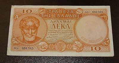 RARE Greece 10 Drachmai 1954 Banknote - Crisp Very Fine+ Note!!
