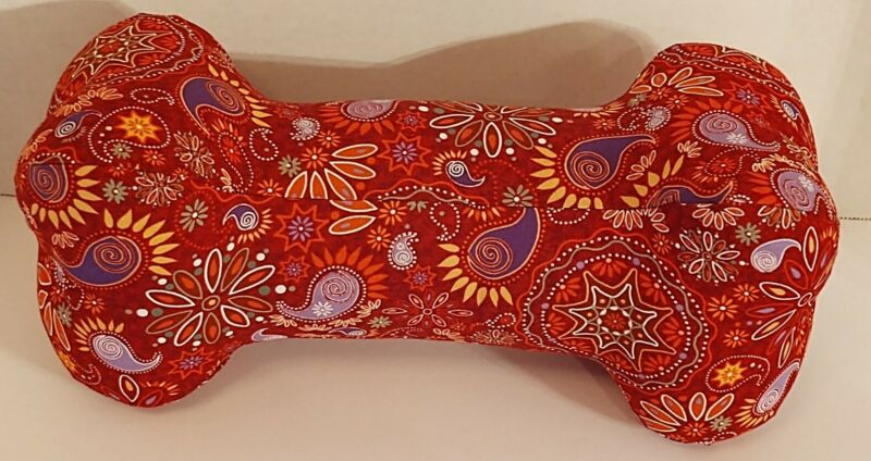 Neck Pillow, Handmade, Dog Bone, WASHABLE - Red Multicolored Design