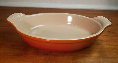 "LE CREUSET Oval Stoneware Baking Dish Orange 9.75"" L x 6"" W x 2"" T EXCELLENT !"