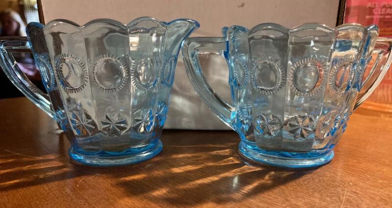 L.E. SMITH MOON AND STAR LIGHT BLUE Glass CREAM AND SUGAR Aqua