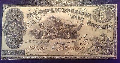 1862 $5 State of Louisiana Obsolete Note Baton Rouge