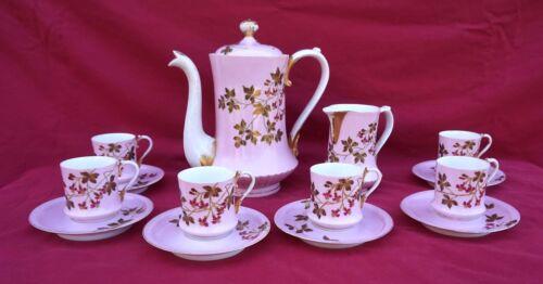 French Old Paris Porcelain Gilt Floral Decor Coffee Set 6 Place Setting 1860