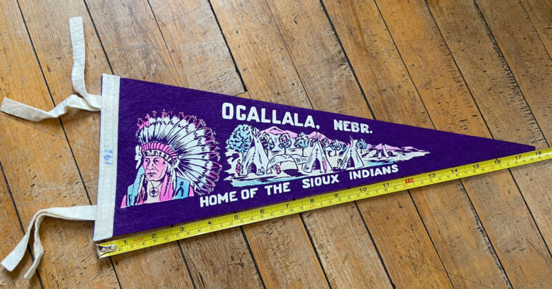 Vintage 1961 Ogallala Nebraska Home of the Sioux Indians Native American Chief
