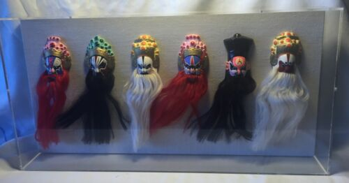 6 Vtg Chinese Painted / Bearded Opera Mask in Mounted Wall Hanging Display Case