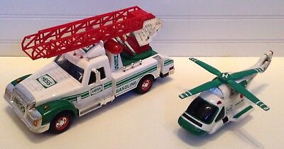 Hess Oil Co  Ladder Truck   Helicopter Toy Vehicles With Lights   Sounds
