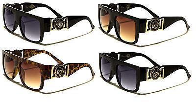 KLEO FLAT TOP LION HEAD MEDALLION SQUARE SUNGLASSES HIP HOP CELEBRITY RETRO (Kleo Sunglasses)