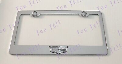 Cadillac Logo Escalade XT5 3D Emblem Stainless Steel License Plate Frame W/ Caps