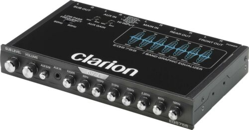 CLARION EQS-755 7-BAND GRAPHIC EQUALIZER W/ FRONT 3.5MM AUX INPUT & REAR RCA AUX