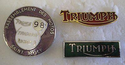 TRIUMPH 3 x MotorCYCLE MotorBIKE MOTORING Enamel Lapel Pin Badges TRIDENT ROCKET