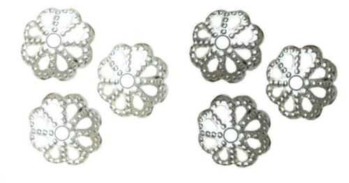 BEAD CAPS FINDINGS FLOWER DOTTED 7mm CHOOSE PLATING 100pcs FITS SIZES 6-9mm