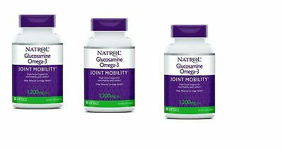 3 x Natrol Glucosamine Omega-3 90 Soft-gels each  Exp 3-2020