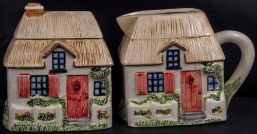 Annie Rowe decorative Cream and Sugar ceramic houses
