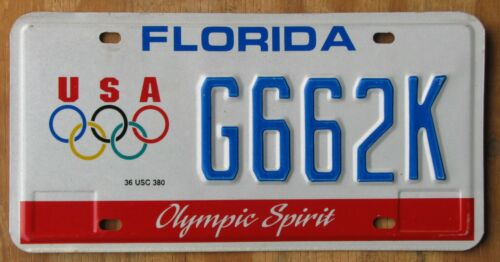 FLORIDA OLYMPICS specialty license plate  2010   G662K