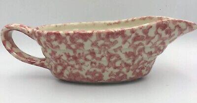 "Workshops of Gerald Henn Pottery Gravy Boat Small 8"" Cranberry Rose Pitcher"