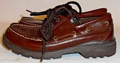 BASS, BOYS BROWN LEATHER BOAT SHOE, SIZE 2 M (Bass Boat Schuhe)