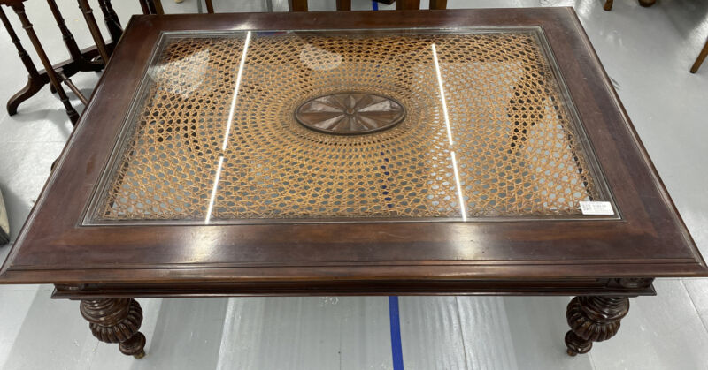 Ethan Allen British Classic Windward Coffee Table Caning & Glass Top