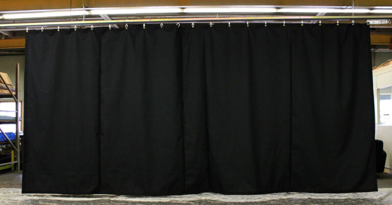 Black Stage Curtain/Backdrop/Partition, 9 H x 20 W, Non-FR