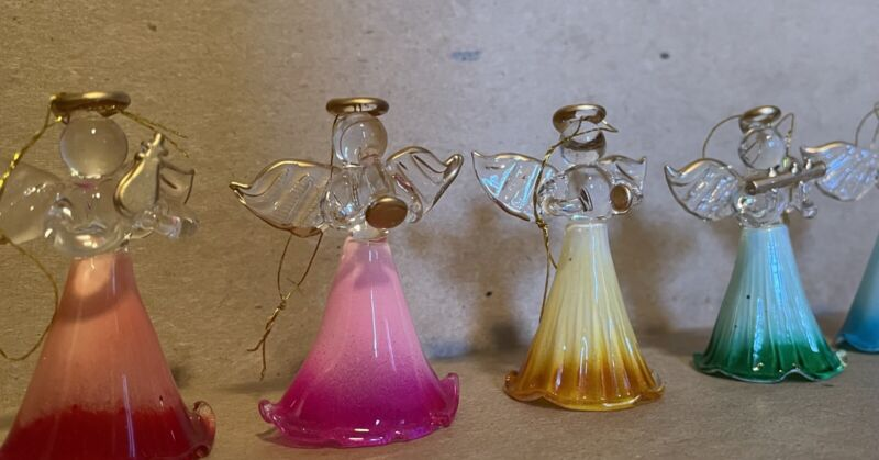 Lot Of Sweet Dainty Glass Angels Playing Instruments Christmas Ornaments
