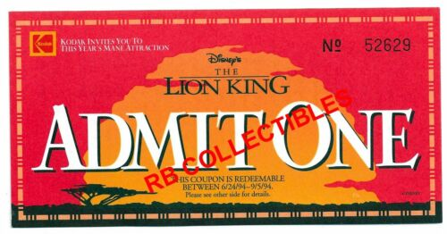 The Lion King-Movie Ticket-Kodak Promo-Numbered 52629-Never Used-1994
