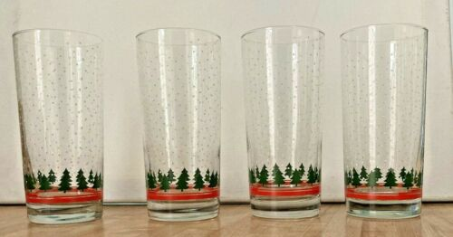 4 Libbey WINTERLAND Christmas Tree w/ Snowflakes Tumbler Drinking Glasses