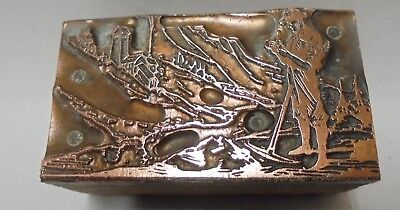 Vintage Printing Letterpress Printers Block Gold Miner With Pickaxe