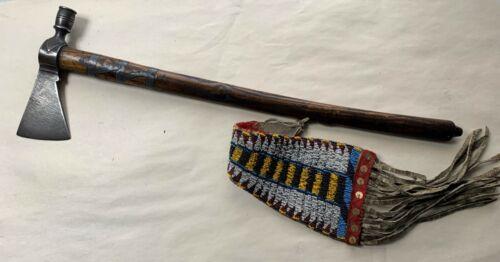 FINE BLACKFOOT INDIAN PEWTER INLAYED PIPE TOMAHAWK