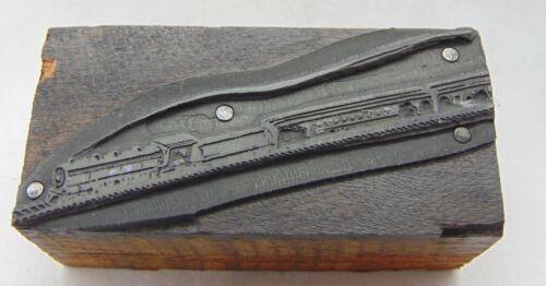 Printing Letterpress Printers Block Train With Smoke Trail