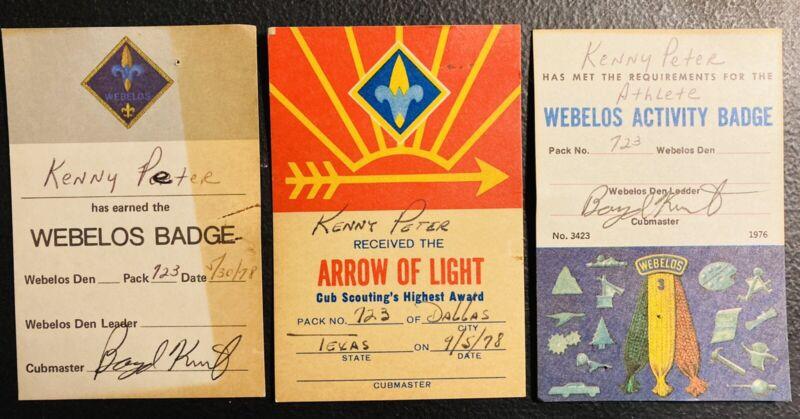 1970's BOY SCOUTS OF AMERICA Arrow Of Light Weblos SCOUT AWARD CARD TROOP 723