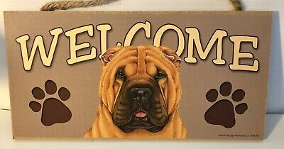Welcome Shar Pei Dog Breed Wood Sign/Wall Plaque