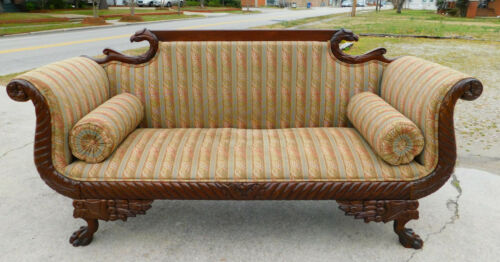 Mahogany Eagle Head Carved Sofa~~Turn of the Century