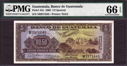 Guatemala 1/2 // 0.50 quetzal 1960 Pick-41b GEM UNC PMG 66 EPQ