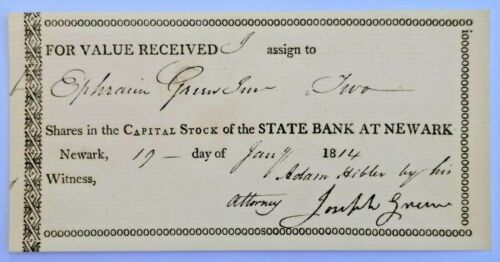 USA NY share State Bank at Newark 1814 certificate financial document