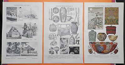 Japanische Kunst und  Kultur I - III Lithographie / Holzstich von 1905 Japan