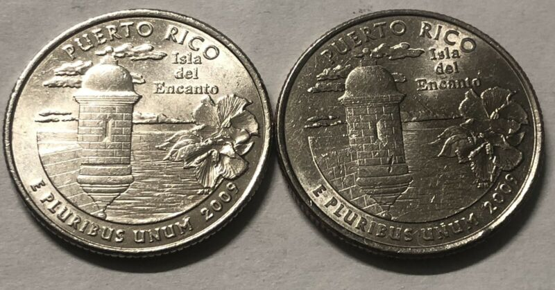 2009 P and D 2 Coin Puerto Rico Washington Statehood Quarter Set
