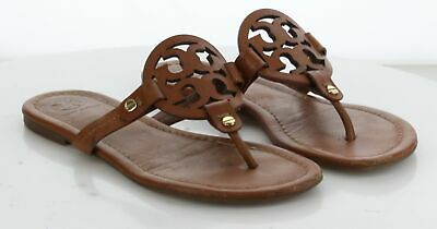 63-29 MSRP $198 Women's Size 5 M Tory Burch Miller Brown Leather Logo Sandal
