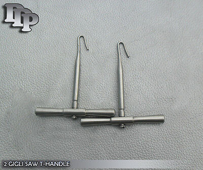 2 Gigli Saw T Handls Neurosurgical Veterinary Instruments