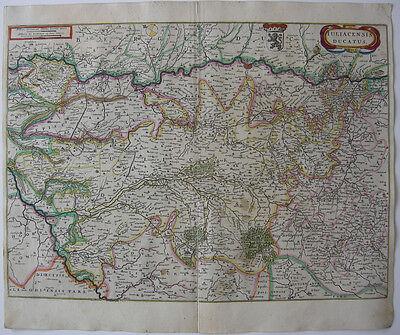 Herzogtum Jülich Köln altkolor Orig Kupferstichkarte Janssonius 1680 NRW