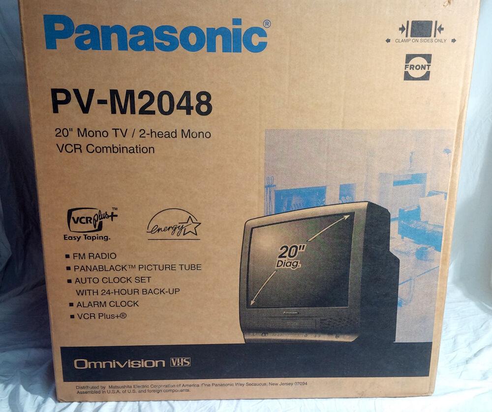 "NEW! Panasonic PV-M2048 20"" CRT TV Television Gaming TV w/ VCR, FM Radio VTG NOS"