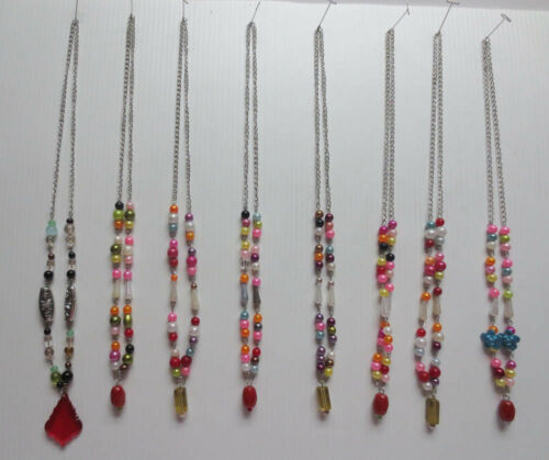 LOT OF 8 DANGLING SILVERTONE GLASS PLASTIC ASSORTED BEAD CONTINUOUS NECKLACES 57