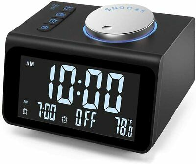 Upgraded Digital Alarm Clock FM Radio, Dual USB Ports, Temperature Detect,Snooze